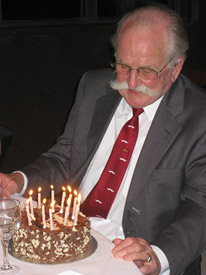 Geoff White and his 90th birthday cake