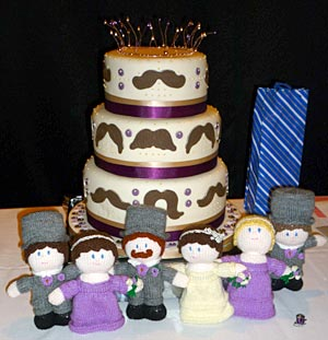 The wedding cake made by a friend featured icing moustaches