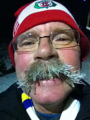 The dangers of arctic weather conditions for the handlebar moustache