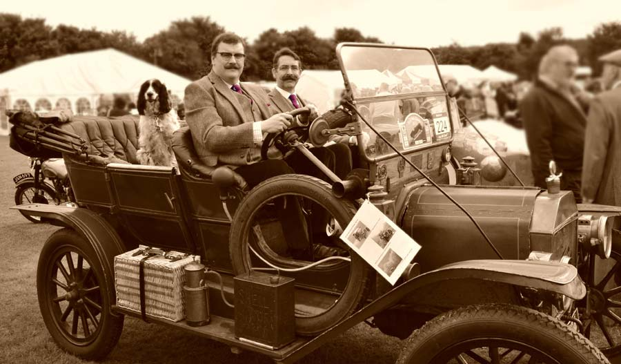Impressive car and impressive Moustaches - Ryan Pike and Allan Robinson cause a stir at Kop Hill Climb - Click to enlarge